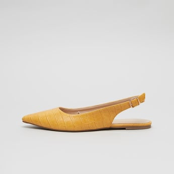 Textured Sling back Flats with Pin Buckle Closure