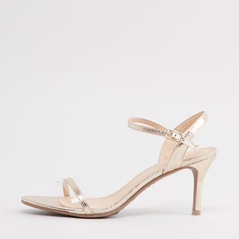 Textured Stilettos with Ankle Strap and Pin Buckle Closure