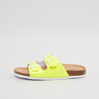 Textured Slides with Pin Buckle Straps