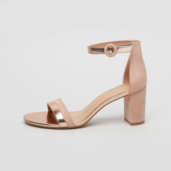 Textured Ankle Strap Sandals with Block Heels