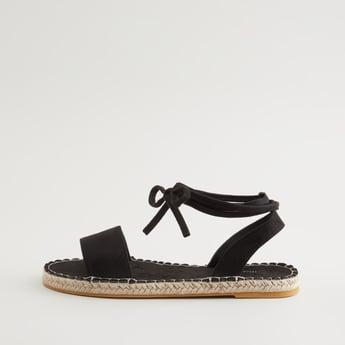 Textured Sandals with Tie Ups