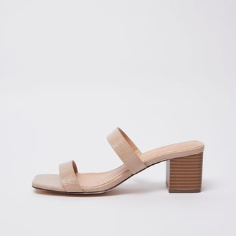 Textured Sandals with Block Heels