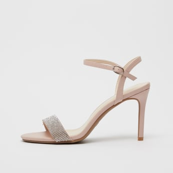 Embellished Strap Stilettos with Pin Buckle Closure