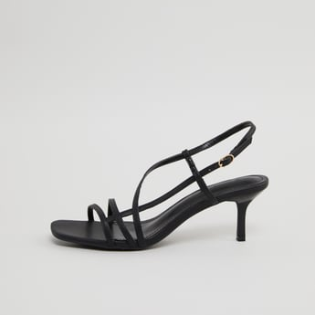 Open Toe Strappy Heel Sandals with Buckle Closure