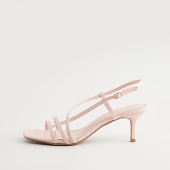 Solid Strappy Heels with Pin Buckle Closure