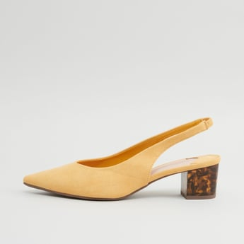 حذاء كلاسيكي سهل الإرتداء سادة بمقدمة مدببة وكعب سميك