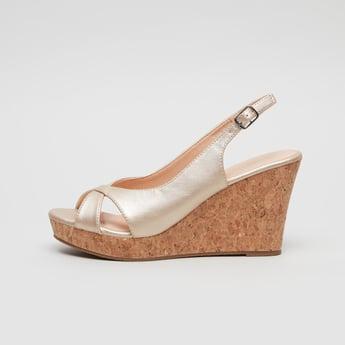Wedge Heel Cross Strap Sandals