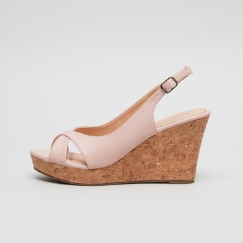 Wedge Heel Cross Strap Sandals