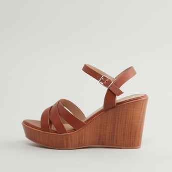 Textured Multi-Strap Sandals with Wedge Heels and Pin Buckle Closure