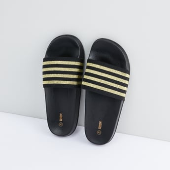 Slides with Striped Straps