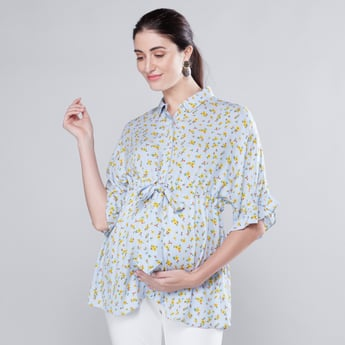 Maternity Printed Top with 3/4 Sleeves and Tie Ups