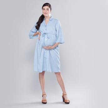 فستان قميص للحوامل متوسط الطول بارز الملمس بأكمام 3/4 بأربطة
