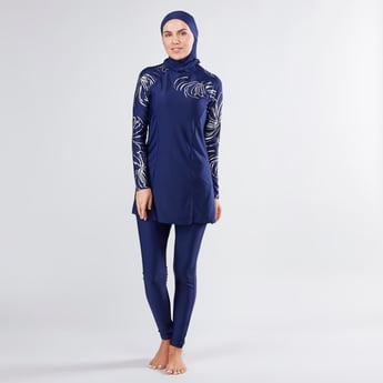 Printed Burkini with Long Sleeves and Hood