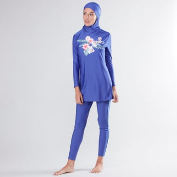 Printed Burkini with Full Length Tights