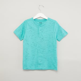 Space Dyed T-shirt with Henley Neck and Short Sleeves