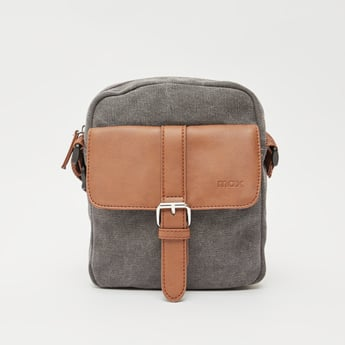 Textured Crossbody Bag with Zip Closure