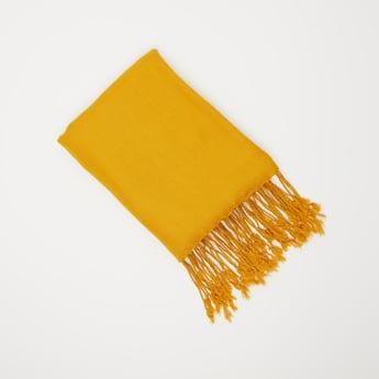 Textured Rectangular Scarf with Tassels