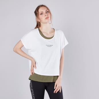 Printed Double Layer T-shirt with Round Neck and Short Sleeves