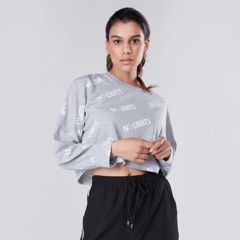Typographic Print Crew Neck Cropped T-shirt with Long Sleeves