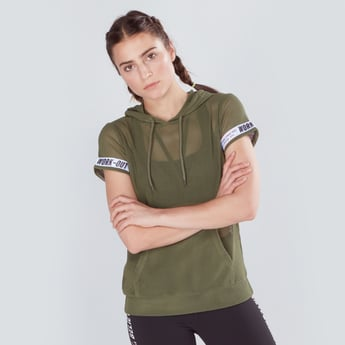 Textured T-shirt with Hood and Short Sleeves