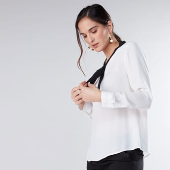 Long Sleeves Top with Pussy Bow