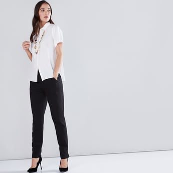 Solid Shirt with Short Sleeves and Complete Placket