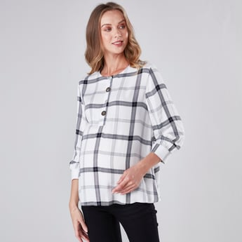 Maternity Checkered Round Neck Blouse with 3/4 Sleeves