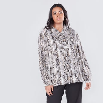 Animal Printed V-neck Blouse with Long Sleeves and Pussy Bow