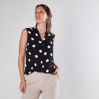 Polka Dot Printed Sleeveless Top