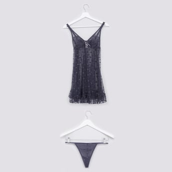 Mesh and Lace Detail Babydoll with Thongs