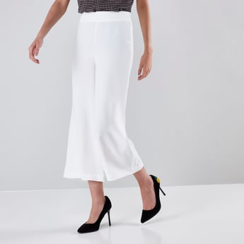 Solid Wide Fit Culotte with Elasticised Waistband