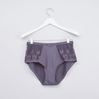 Embroidered Lace Detail Full Brief