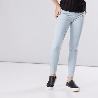 Striped Jeggings with Pocket Detail