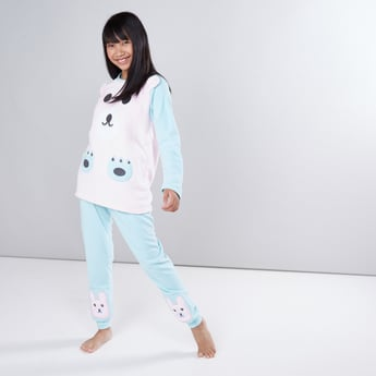 Embroidered Applique Long Sleeves T-Shirt with Jog Pants