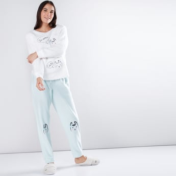 Embroidered and Plush T-Shirt with Jog Pants