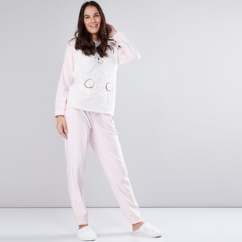 Embroidered T-Shirt with Plush Detail and Pyjama Set