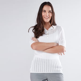 Textured Top with Polo Neck and Short Sleeves