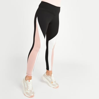 Slim Fit Ankle Length Quick Dry Leggings with Panel Detail