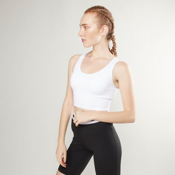 Plain Crop Top with Scoop Neck and Cross Straps