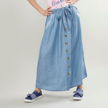 Embroidered Maxi Skirt with Button Detail and Tie Ups
