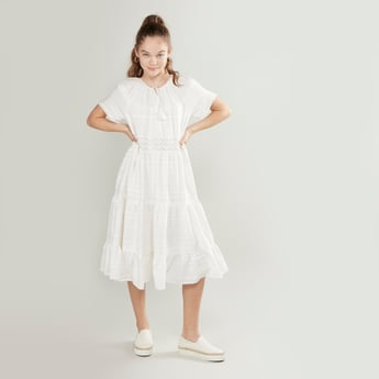 Textured Dress with Round Drawstring Neck and Short Sleeves