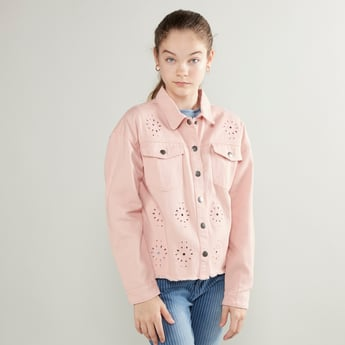 Schiffli Embroidered Jacket with Flap Pockets