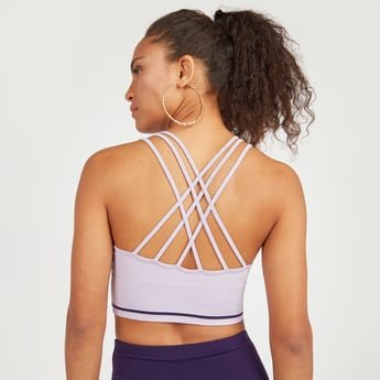 Seamless Sports Bra with Scoop Neck and Multi-Straps