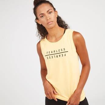 Slogan Print Sleeveless Vest with Round Neck