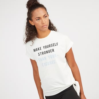 Printed T-shirt with Short Sleeves and Knot Detail