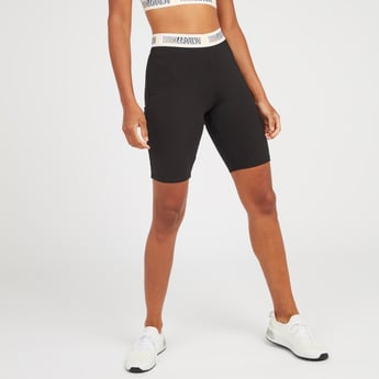 Slim Fit Solid Cycling Shorts with Printed Elasticised Waistband