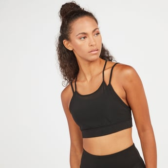 Solid Double Layer Seamless Sports Bra with Racerback