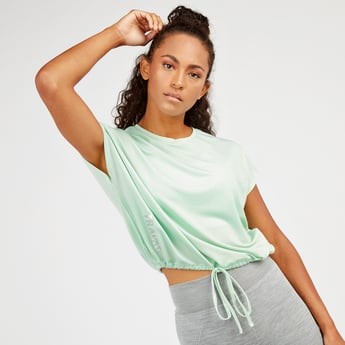 Textured Boxy Top with Crew Neck and Extended Sleeves