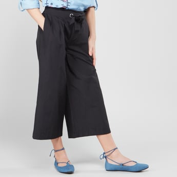Plain Culottes with Paperbag Waist and Pocket Detail