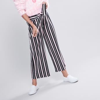 Striped Culottes with Elasticised Waistband and Tie Ups